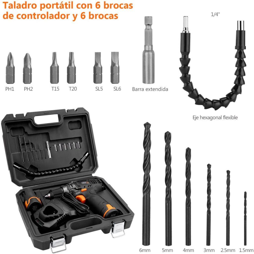 Taladro atornillador a bateria tacklife pcd03b con accesorios
