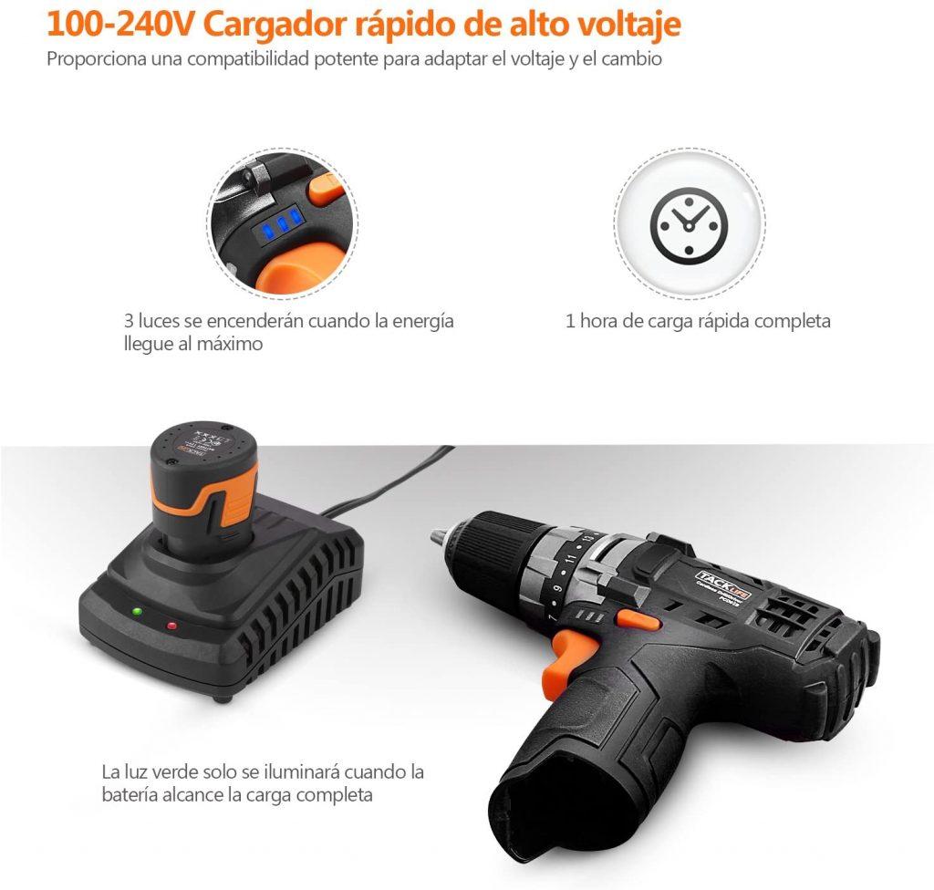 Taladro atornillador con carga rápida Tacklife pcd03b